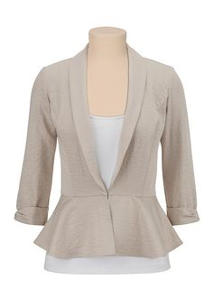 Khaki Peplum Blazer available at How To Wear Blazers, Peplum Blazer, Hair Dos, Passion For Fashion, Fashion Beauty, Hair Beauty, Plus Size, Clothes For Women, My Style