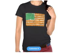 USA Irish flag, Women's American Apparel Fine Jersey Short Sleeve T-Shirt, color is Black Irish Design, Jersey Shorts, American Apparel, Tank Man, Flag, Sleeve, Mens Tops, T Shirt, Color