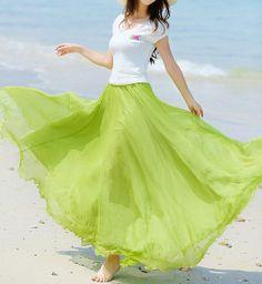 Fairy Green Chiffon skirt Maxi Skirt Long