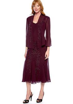 RM Richards Sheer Beaded Jacket Dress