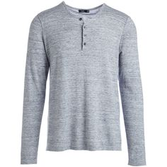 Vince Sporty Jaspe Long-Sleeve Mix Stitch Henley ($101) ❤ liked on Polyvore featuring men's fashion, men's clothing, men's shirts, men's casual shirts, guy clothes, men, mens long sleeve shirts, mens holiday shirts, mens longsleeve shirts and men's round neck t shirts