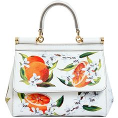 Dolce & Gabbana Women Small Sicily Orange Printed Dauphine Bag (€2.300) ❤ liked on Polyvore featuring bags, handbags, shoulder bags, dolce gabbana purse, print purse, flower print purse, floral print handbags and white shoulder bag