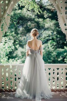 whimsical grey tulle dress