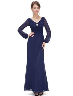 Ever Pretty Dark Blue Double V-Neck Diamante Long Sleeve Evening Dress 09887 * Want additional info? Click on the image. (This is an affiliate link and I receive a commission for the sales)