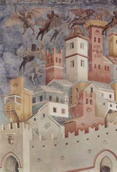 di Bondone Legend of St Francis - Exorcism of the Demons at Arezzo (detail) Upper Basilica of San Francesco d'Assisi. Famous Artists, Great Artists, Tempera, Fresco, Siena, Monuments, Renaissance Kunst, Italy Architecture, Late Middle Ages