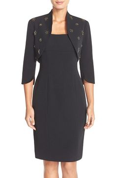 Adrianna Papell Stretch Crepe Sheath Dress & Beaded Bolero available at #Nordstrom
