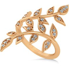 Allurez Diamond Olive Leaf Vine Fashion Ring 14k Rose Gold (0.28ct) ($1,195) ❤ liked on Polyvore featuring jewelry, rings, rose ring, pink gold diamond rings, rose gold leaf ring, rose gold rings and rose gold diamond ring