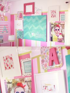 Paint/Decorate IKEA trays and attach a big letter initial.  Love it for a little girls room! (laura-winslow-photography)