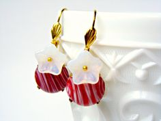 Red Vintage Earrings Red White Vintage Dangle by Sweetystuff, £16.00