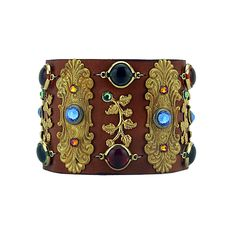 """joxasa Italian leather cuff with swarovski elements, solid brass hardware and antique blown glass adornments. Cuff measures 2"""" in width 9"""" in length and is adjustable to fit three wrist sizes 7 3/8"""","""