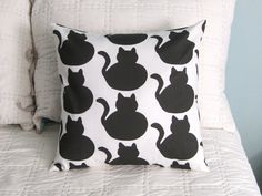 NEW Black Fat Cat Pillow Cover by DesignsByNancyT on Etsy, $26.00