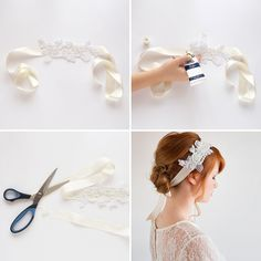 Use a lace appliqué and ivory ribbon to DIY this headband.