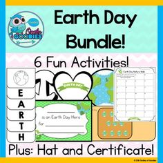 Earth Day - Bundle Pack! 6 different activities, a hat craft and Earth Day certificate!