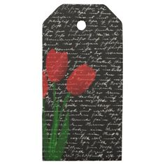 #white - #Red tulips wooden gift tags