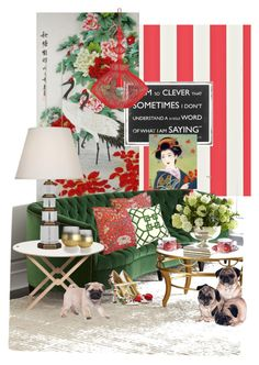 """Asian Vibe and The Pugs..."" by kimberlyd-2 ❤ liked on Polyvore featuring interior, interiors, interior design, home, home decor, interior decorating, HARLEQUIN, Old Hickory Tannery, Roberto Cavalli and Robert Abbey"