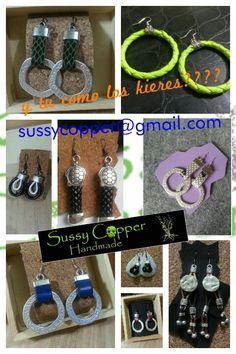 pendientes estilo pulseras de zamak. Derechos de imagen y creacion de piezas de Sussy Copper. sussycopper@gmail.com