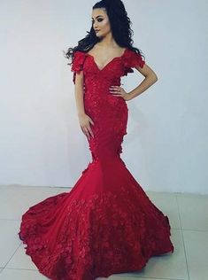 Prom Dress Beautiful, Mermaid Off-the-Shoulder Red Stretch Satin Prom Dress with Appliques, Discover your dream prom dress. Our collection features affordable prom dresses, chiffon prom gowns, sexy formal gowns and more. Find your 2020 prom dress Mermaid Prom Dresses, Cheap Prom Dresses, Prom Party Dresses, Simple Dresses, Wedding Dresses, Prom Outfits, Lace Dresses, Pretty Dresses, Bridal Gowns