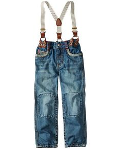 It all starts with an epic pair of double-knee jeans (think twice the rugged wear!) that are supercrafted with tons of stitch and trim details. But here's the true awesomeness: removable leather-trimmed suspenders. Enough said. <br>• Superwashed 100% cotton denim<br>• Fly front<br>• Stretch back<br>• Easy adjustable inner waist<br>• Removable suspenders in leather-trimmed elastic<br>• Double layer knee patches<br>• Front pockets with reverse denim trims <br>• Imported