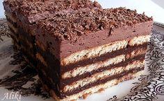 Mamina jela: Čokoladna keks torta -jednostavno i ekonomično- Bulgarian Recipes, Croatian Recipes, Desserts To Make, No Bake Desserts, Chocolate Biscuit Cake, Cake Recipes, Dessert Recipes, Cheesecake Ice Cream, Kolaci I Torte