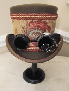 Brown Steampunk Tophat SP2 by MoonbeamEmporium on Etsy