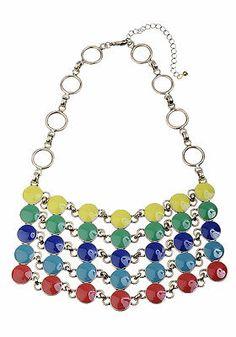 Collier plastron pierres email multicolores finition dorée