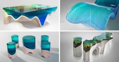 Eduard Locota's DelMare Collection is Contemporary Furniture Inspired by Nature - The Architects Diary Acrylic Furniture, Glass Furniture, Art Furniture, Furniture Design, Furniture Sketches, Apartment Furniture, Furniture Outlet, Contemporary Coffee Table, Modern Coffee Tables