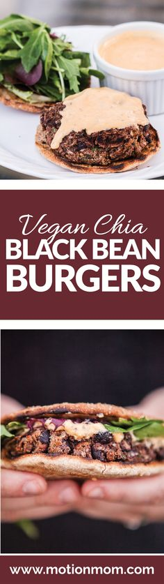 Chia Vegan Black Bean Burgers with Vegan Sriracha Mayo