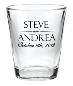 144 Personalized 1.5oz Wedding Favor Glass Shot Glasses Custom Wedding Favors