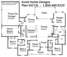 House Plans by Korel Home Designs Kids Rooms with Jack & Jill Bath near Game Room, Guest room with Private Bath, and Master Suite all on first floor, also has Study