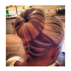 Upside down braid into Sock bun ❤ liked on Polyvore featuring hair, hairstyles, hair styles, cabelo and beauty