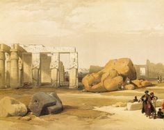 David Roberts (1796-1864)-'the colossi of Rameses II at Abu Simbel'-Lithograph on india paper with watercolor