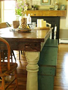 { Farmhouse Dining Room }...this is what I want to do with the legs from my old table. Now to find or build the top.