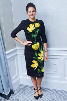 In full bloom: Shailene Woodley looked fresh in a floral print dress while promoting Snowd...