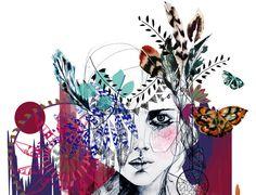 Tribal Girl // A2 Giclée print // FASHION by hollysharpe on Etsy