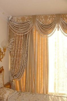 Transition: the swag curtains move your eye across the wall Swag Curtains, Home Curtains, Window Drapes, Hanging Curtains, Curtains With Blinds, Window Coverings, Window Treatments, Valances, Classic Curtains