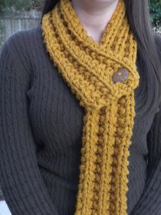 Mustard Chunky HandKnit Button Scarf by gigknits on Etsy, $25.00