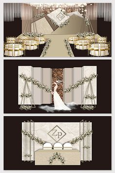 Modern minimalist brown European wedding effect picture Wedding Backdrop Design, Wedding Stage Design, Wedding Stage Decorations, Engagement Decorations, Wedding Ceremony Backdrop, Backdrop Decorations, European Wedding, European Style, Mall Design