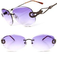 e45b68d5656 Purple Lens Classic Vintage Retro goth Frame Womens Rimless Oval Sunglasses  F66  KISS  Oval