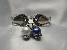Silver Spoon Bracelet Traditional Style Blue and by AGothShop, $27.00