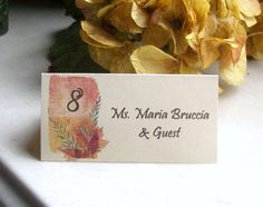 Tented Place Card  Escort Card  Customized  Fall  by paperpixie