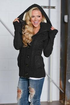 Waiting For You Hooded Sweater - Black