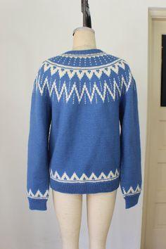 Norwegian Cardigan / Wool Blue and Cream by SouthwestVintage