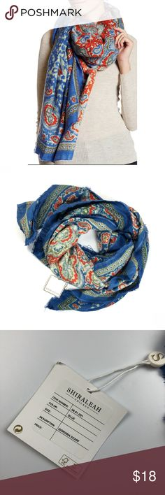 "Shiraleah Giorgina Blue Oversized Blanket Scarf New with tags. Shiraleah Chicago Giorgina oversized blanket scarf in blue paisley. 100% acrylic *please note, this scarf has a raw fringe edge on it  Apx: 58"" x 58"" Shiraleah Accessories Scarves & Wraps"