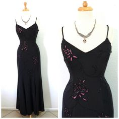 Vintage 90s dress, Spaghetti strape Beaded cut-out Formal Party Evening Gown Small by KMalinkaVintage on Etsy https://www.etsy.com/listing/451843908/vintage-90s-dress-spaghetti-strape