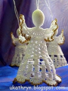U Kathryn : Szydełkowy anioł (wzór)/Crochet angel pattern - New Ideas Crochet Snowflake Pattern, Christmas Crochet Patterns, Crochet Motifs, Crochet Snowflakes, Angel Crafts, Christmas Crafts, Christmas Decorations, Christmas Ornaments, Crochet Angels