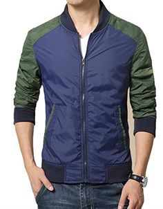 Men's casual long sleeve zip style mixed color, front side insert pockets, Zip fastenings on the front, Rib bottom. Leather Men, Leather Jacket, Big Men Fashion, Bomber Jacket Men, Men's Wardrobe, Cotton Jacket, Color Mixing, Men's Jackets, Bomber Jackets