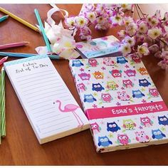 Magnetic List Pads for never ending lists, note books #magneticlist pads #listpad #flamingo #pink #owl #personalised#stationery #personalisedstationery #cupikdesign #india#school #onlinestationery