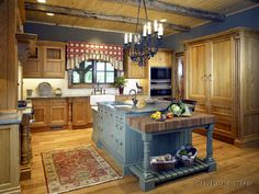 red, blue, and distressed wood Log Cabin Kitchens, Home Kitchens, Dream Kitchens, Wooden Kitchens, Pine Kitchen, Kitchen Decor, Kitchen Ideas, Kitchen Country, Kitchen Paint
