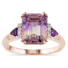 Miadora Rose Plated Silver 3 1/2ct TGW Ametrine, Amethyst and Diamond Ring | Overstock.com Shopping - Top Rated Miadora Gemstone Rings