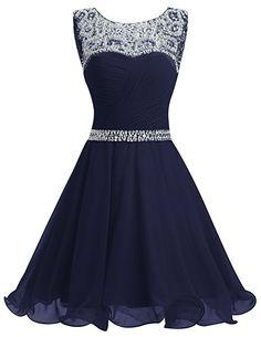Dresstells® Short Chiffon Open Back Prom Dress With Beading Evening Party Dress NavySize 6